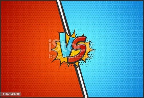 Versus battle template vector illustration VS letters with explosion cloud pop art style