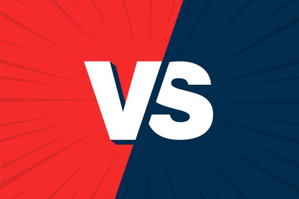 ilustraciones, imágenes clip art, dibujos animados e iconos de stock de diseño de comic vs versus azul y rojo. ilustración de vector - lucha