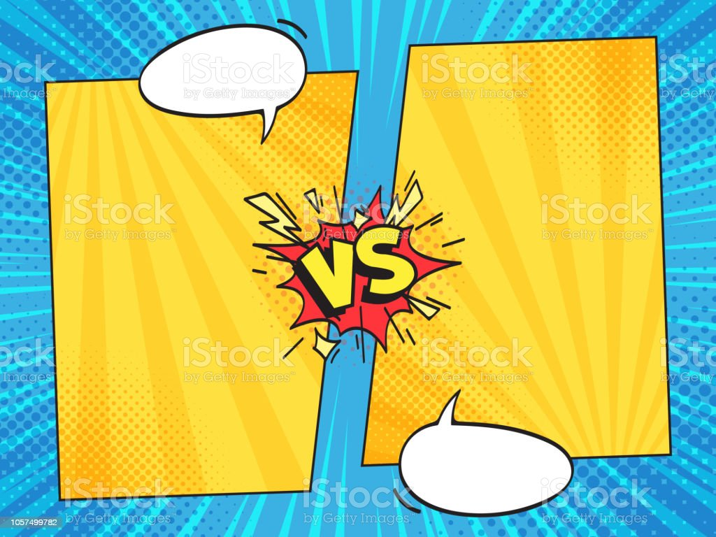 Versus Comic Frame Vs Comics Book Frames With Cartoon Text Speech Bubbles On Halftone Stripes