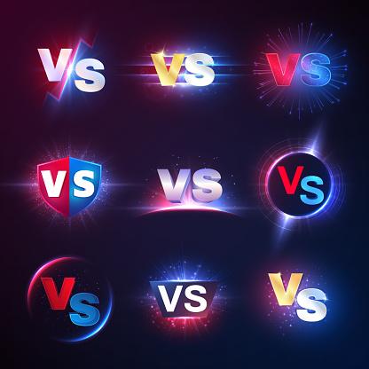 Versus emblems. Vs mma competition, battle confrontation lucha libre contest versus vector symbols
