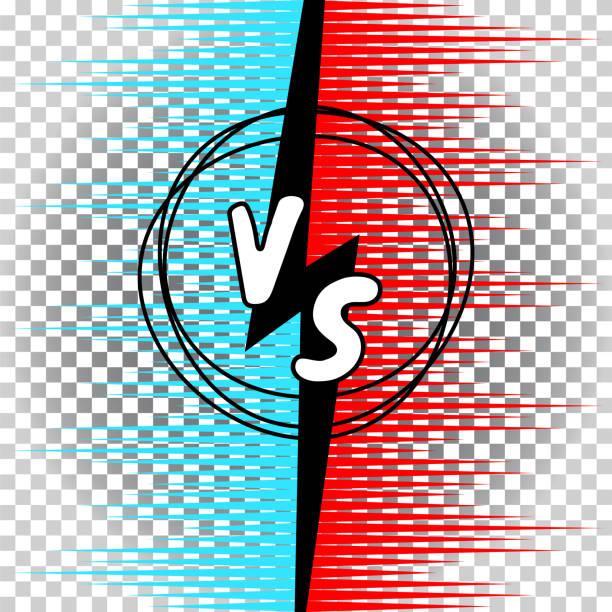illustrazioni stock, clip art, cartoni animati e icone di tendenza di versus letters comic style vector illustration. vs collision battle concept with rays and clap clouds. - box name