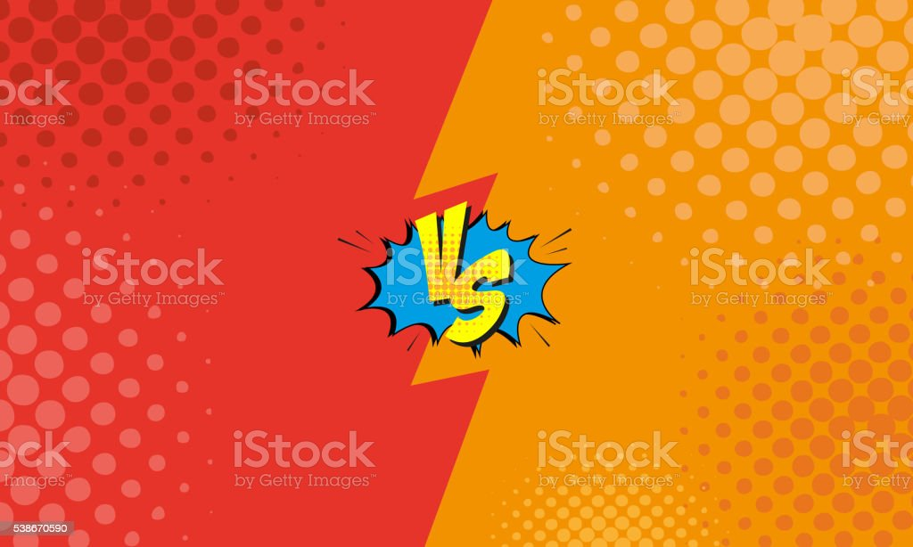 Versus letters fight backgrounds comics style design. Vector illustration vector art illustration