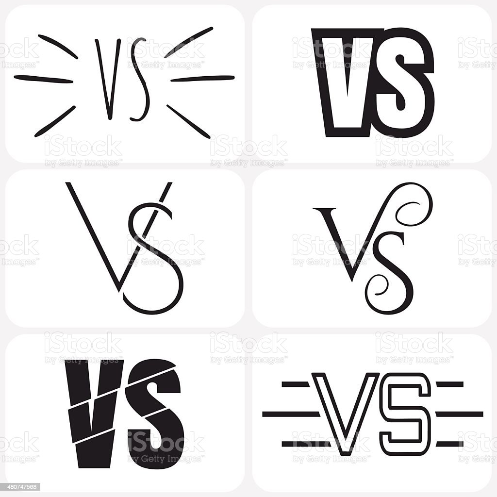 Versus Letters Logo Black V And S Symbols Collection Stock Vector