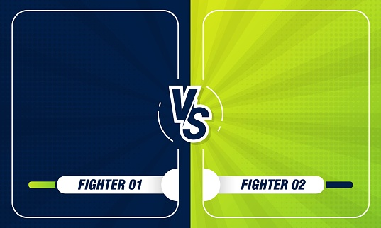 Versus letters screen background design. Announcement of a two fighters or team frame battle