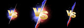 Versus light battle. MMA concept - fight night, MMA, boxing, wrestling, Thai boxing. VS of metal letters with light fire and glow. Versus battle vector