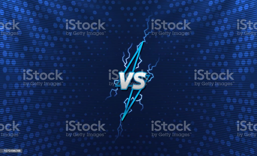 Versus Logo With Holographic Background Lightning Logo With