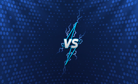 Versus logo with holographic background. Lightning logo with flashes. Cyber sport tournament screen design.