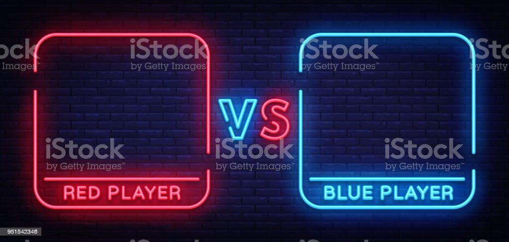 versus neon sign neon symbol icon logo design template confrontation