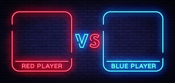 Versus neon sign. Neon symbol, icon, logo design template confrontation. Light banner, bright night advertising. Vector illustration
