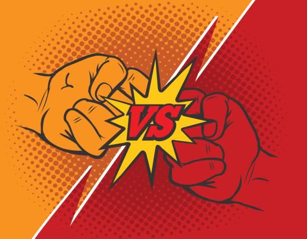 ilustrações, clipart, desenhos animados e ícones de contra o fundo de punho de rivalidade - competição