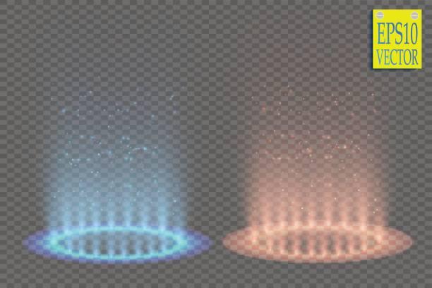 im vergleich zu rund blau und rot leuchten sie strahlen nachtszene mit auf transparenten hintergrund funken. lichteffekt-podium. disco-club tanzfläche. strahl-bühne. magisch fantasy-portal. futuristische heiße und kalte teleportieren. vektor - computergrundlagen stock-grafiken, -clipart, -cartoons und -symbole