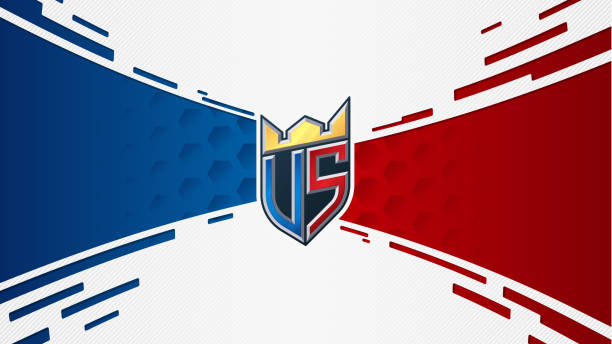 versus screen concept. vs sticker monogram with crown. red and blue teams confrontation. dynamic background with layered paper texture. - martial arts stock illustrations