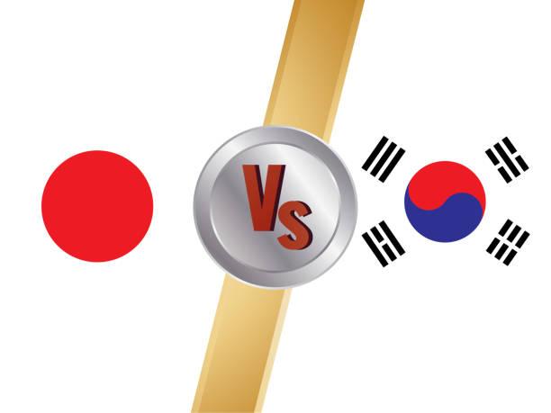 versus bildschirm-design, japan vs südkorea, vektor-illustration - flagge japan stock-grafiken, -clipart, -cartoons und -symbole