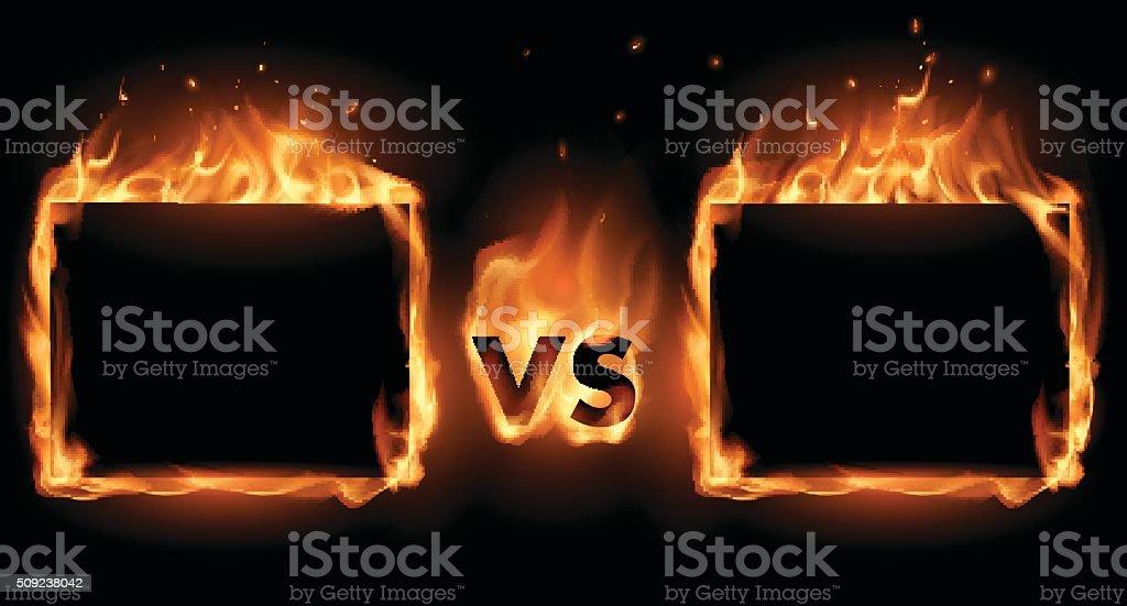 Versus screen with fire frames vector art illustration