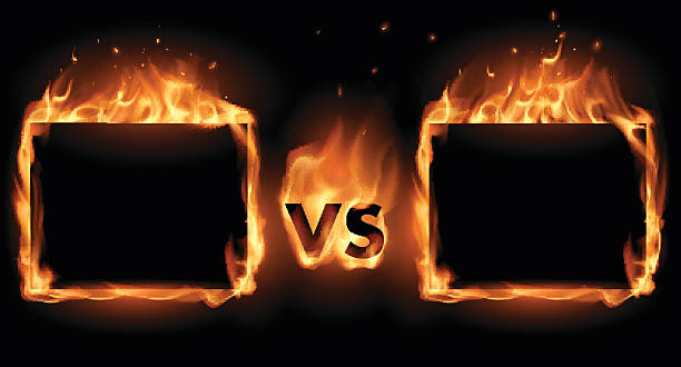 stockillustraties, clipart, cartoons en iconen met versus screen with fire frames - confrontatie