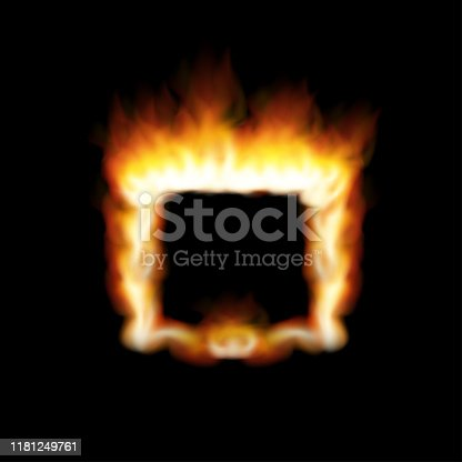 Versus screen with fire frames. Vector stock illustration.
