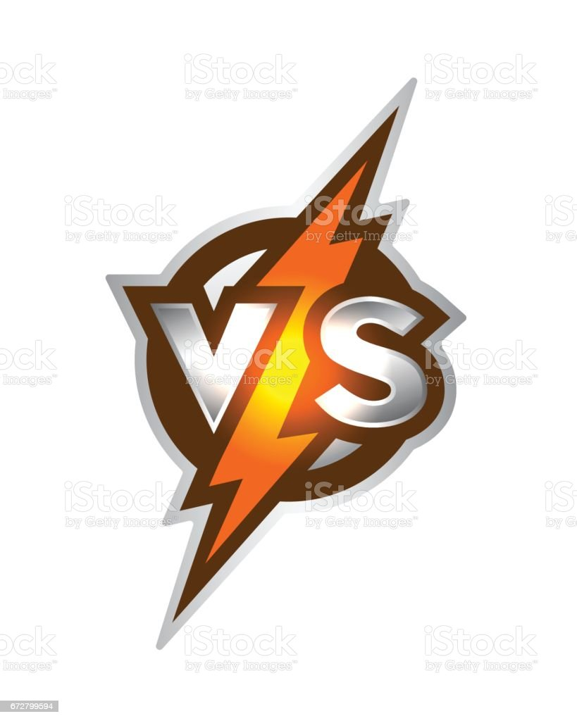 Versus symbol. Letters v s of on a background of glowing lightning. vector art illustration