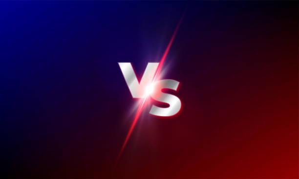 stockillustraties, clipart, cartoons en iconen met versus vector achtergrond. rood en blauw mma strijd concurrentie vs light blast sparkle template - conflict