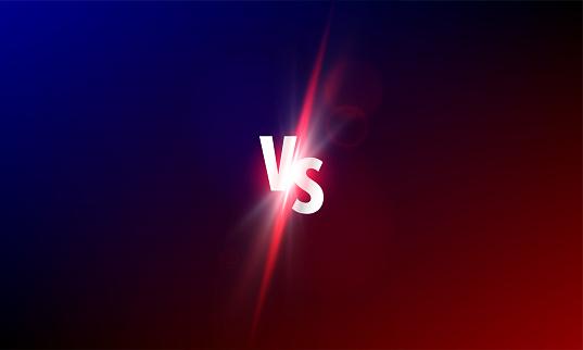 VS versus vector background. Sport fight competition VS light shine glow