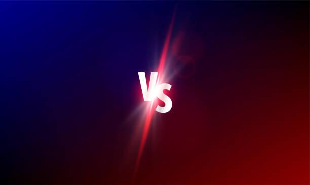 ilustraciones, imágenes clip art, dibujos animados e iconos de stock de vs frente a fondo vectorial. competencia de lucha deportiva vs brillo luz resplandor - boxeo deporte