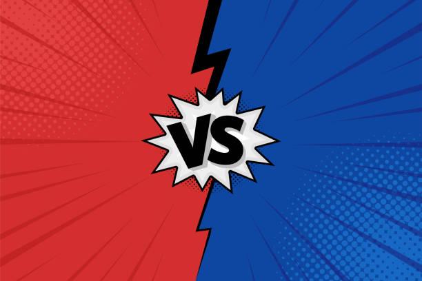 ilustraciones, imágenes clip art, dibujos animados e iconos de stock de versus vs cartas luchan antecedentes en diseño, estilo comics plana con semitonos, relámpago. vector de - lucha