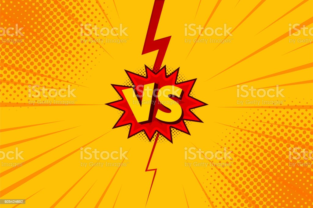 Versus VS letters fight backgrounds in flat comics style design with halftone, lightning. Vector