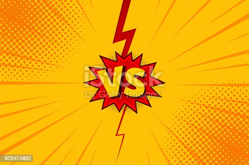 istock Versus VS letters fight backgrounds in flat comics style design with halftone, lightning. Vector 925424652