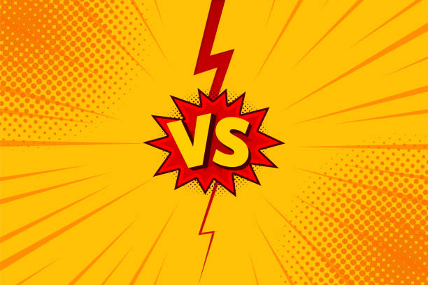 versus vs letters fight backgrounds in flat comics style design with halftone, lightning. vector - журнал комиксов stock illustrations