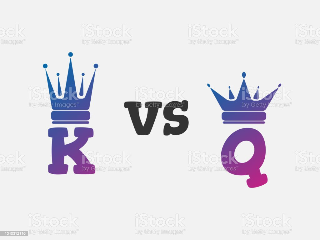 Versus Vs Letters For Battle Fight King And Queen Vector