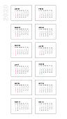 Vertical 2020 calendar template. Week starts on Sunday. Calendar isolated on white background for organization and business. Simple and clean design. Vector illustration