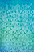 Vertical abstract triangles geometric background - Green, Blue.