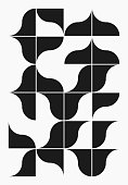Simple geometric abstract vector pattern with simple shapes in black white colors. Geometric graphics composition, best use in web design, business card, invitation, poster, textile print, background.