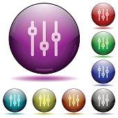 Vertical adjustment glass sphere buttons