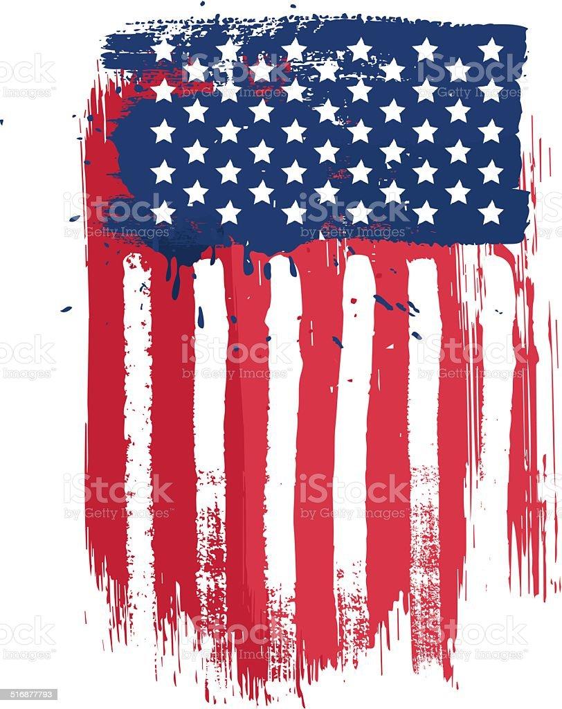 Vertical american flag vector art illustration