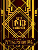 Vertical Art Deco style vintage invitation design template