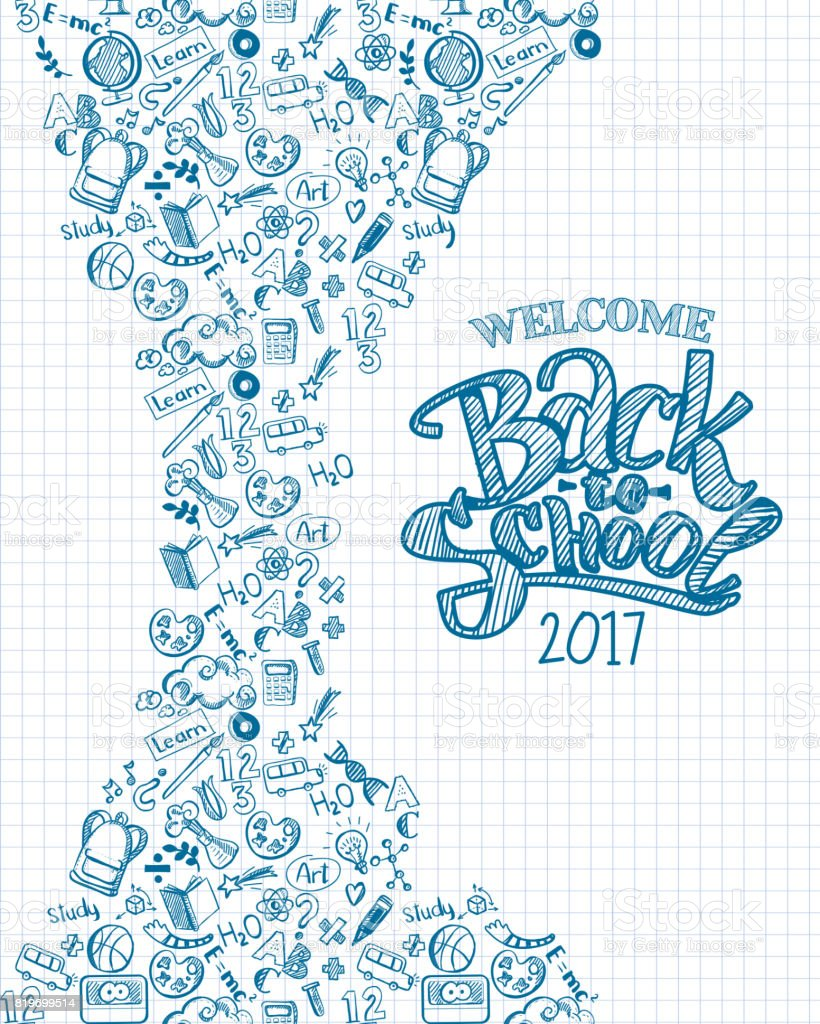 Vertical back to school background vector art illustration