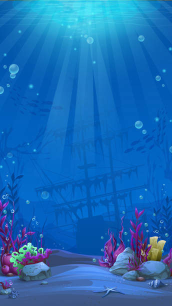 Vertical background - blue theme of undersea world Undersea world in blue theme. Marine Life Landscape - the ocean and the underwater world with different inhabitants. For design websites and mobile phones, printing. undersea stock illustrations
