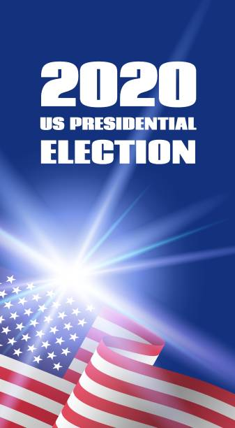 Vertical banner for 2020 US Presidential Election. With USA flag Vertical banner template for 2020 US Presidential Election. With USA flag presidential candidate stock illustrations