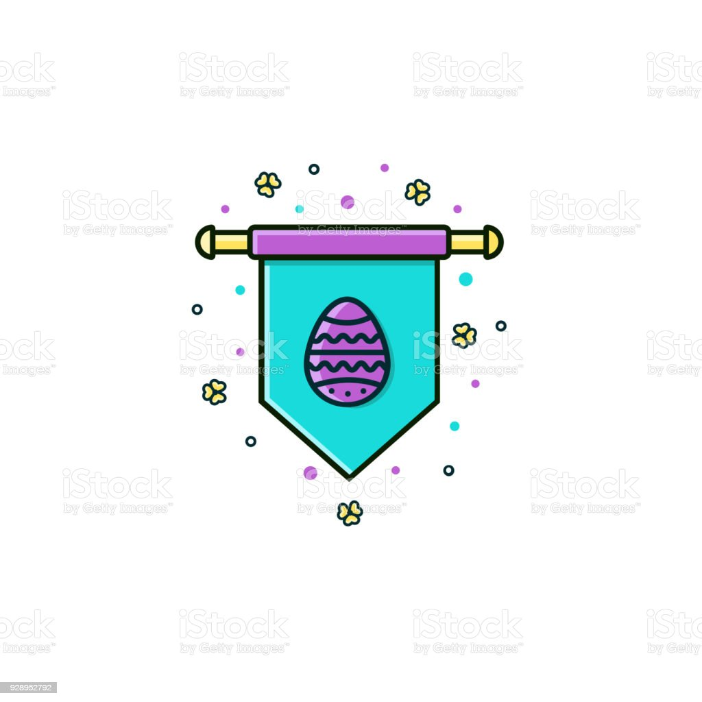 Vertical Banner Or Flag With Easter Egg Symbol Flat Color Line Icon ...