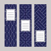 Vertical banner set. Sashiko Embroidery Ornament.