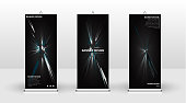 Vertical banner template design. can be used for brochures, covers, publications, etc.black background pattern texture futuristic geometric art