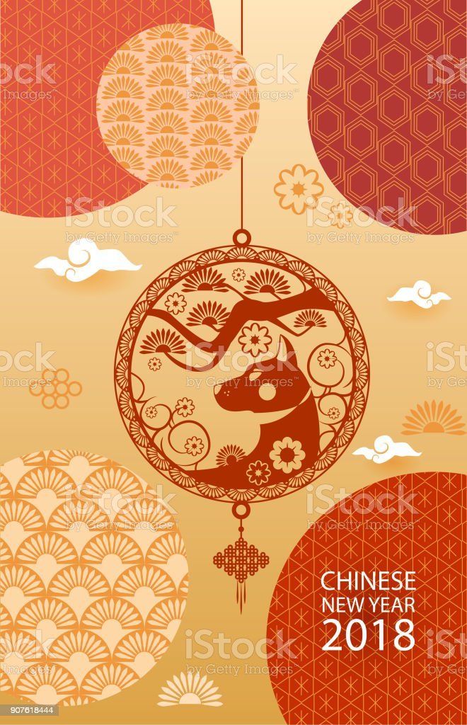 vertical banner with 2018 chinese new year patterns patterns in modern style on gold background