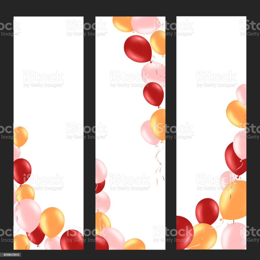 Vertical banner with colorful helium balloons. Frame composition with space for your text. Useful for announcement , poster, flyer, greeting card vector art illustration