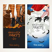 Vertical banners for Halloween party with witch legs in boots and broomstick on full moon background