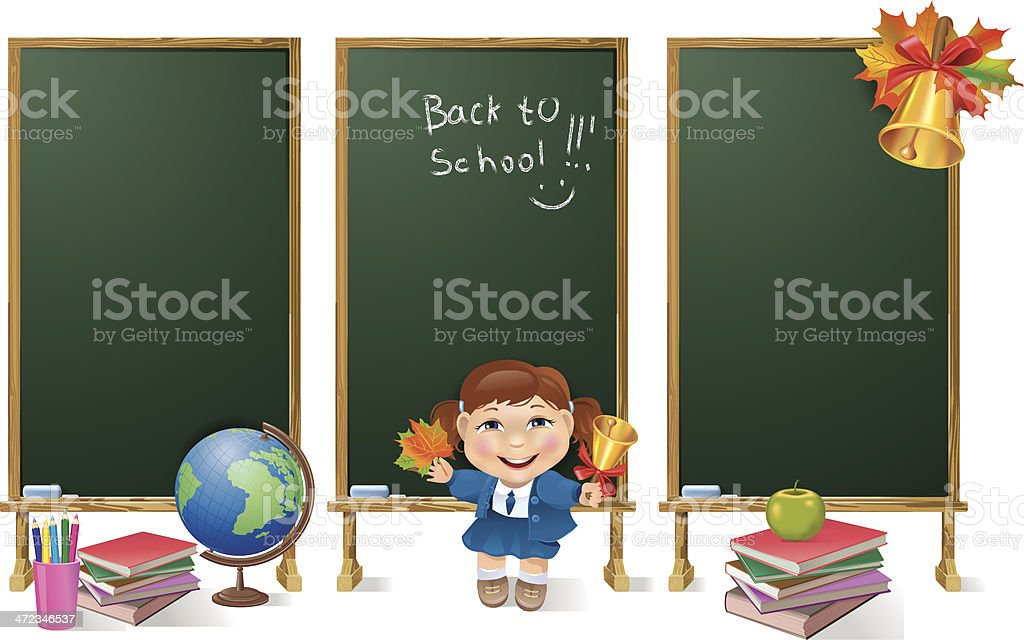 Vertical banners school board and girl. royalty-free stock vector art