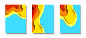 Vertical A4 banners with 3D abstract background with orange paper cut waves and blue background. Contrast colors. Vector design layout for presentations, flyers, posters and invitations.