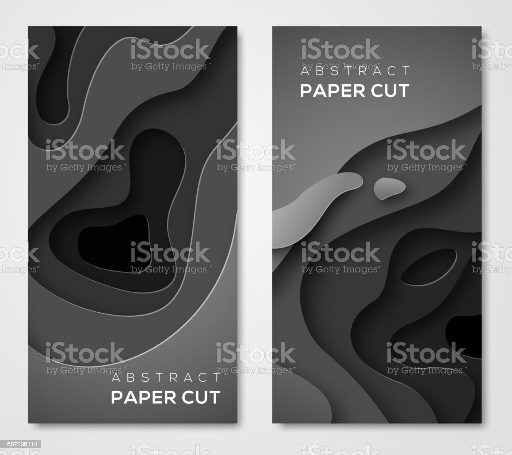 Vertical banners with 3D black paper cut vector art illustration
