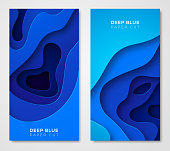 Vertical banners with 3D abstract blue background with paper cut shapes. Vector design layout for business presentations, flyers, posters and invitations. Colorful carving art