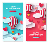 istock Vertical banners with air balloon 1287021117