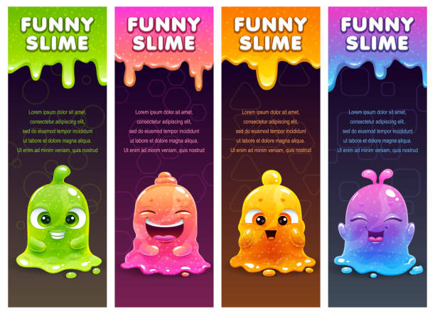 Vertical banners with cute cartoon colorful slimy characters and slime dribbles Vertical banners with cute cartoon colorful slimy characters and slime dribbles. Vector templates for web or typography design. jello stock illustrations